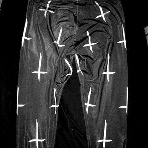 Lip service gothic inverted cross leggings